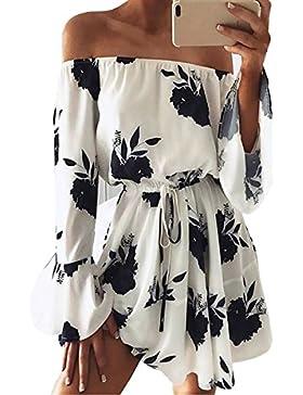 Yieune Sommerkleider Lange Ärmel Schulterkleid Blumenmuster Kurzes Strandkleid
