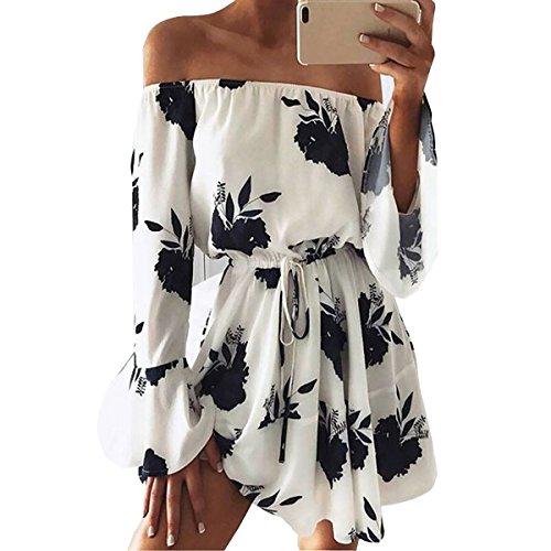Yieune Sommerkleider Lange Ärmel Schulterkleid Blumenmuster Kurzes Strandkleid(Weiß-Schwarz L) -