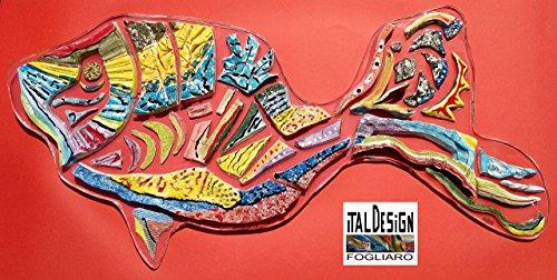 RAINBOW FISH IN Keramik und Polykarbonatharz. SCULPTURE WALL IN MODERN ART UNTERZEICHNET ITALDESIGNFOGLIARO -