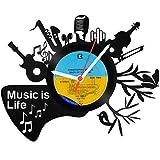 GRAVURZEILE Wanduhr aus Vinyl Schallplattenuhr Music is Life Upcycling Design Uhr Vinyl-Uhr Wand-Deko Vintage-Uhr Wand-Dekoration Retro-Uhr Made in Germany