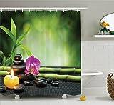 Abakuhaus Duschvorhang, Sand Orchidee und Massage Kieselsteine im Zen Garten Meditation Ort Fantastisch Bild Druck, Blickdicht aus Stoff inkl. 12 Ringen Umweltfreundlich Waschbar, 175 X 200 cm