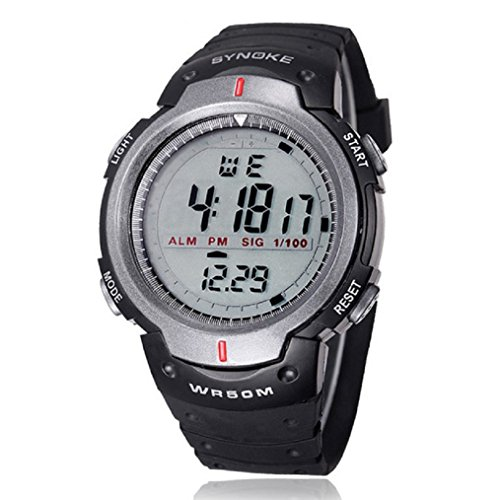 Ularma Sportuhr Digital Uhr Wasserdicht Armbanduhr Multifunktion LED Sport Uhr Alarmuhr (grau)