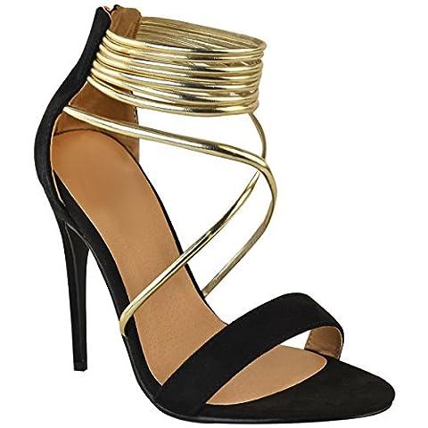 Sandales à talons hauts - à brides - soirée/fête - femme - Faux suède noir/doré métallisé - EUR 36