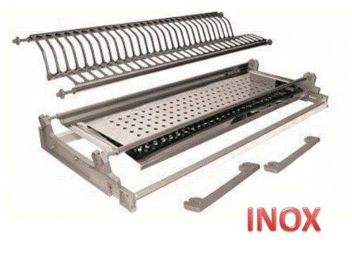 INOX Égouttoir encastrable avec Fixation à Ressorts de 86 ML, en Acier Inoxydable avec Plateau, fabriqué en Italie