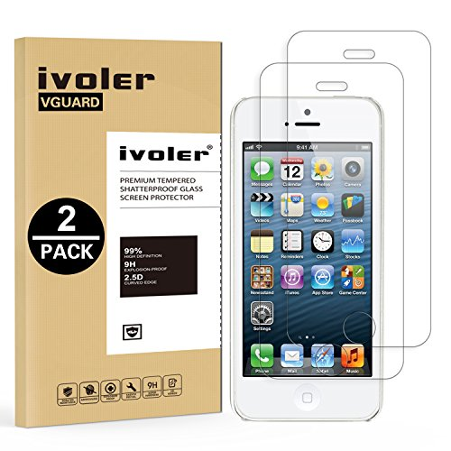 [Lot de 2] iPhone SE / 5 / 5S / 5c Protection écran, iVoler® Film Protection d'écran en Verre Trempé Glass Screen Protector Vitre Tempered pour iPhone SE / 5 / 5S / 5c - Dureté 9H, Ultra-mince 0.30 mm, 2.5D Bords Arrondis- Anti-rayure, Anti-traces de doigts,Haute-réponse, Haute transparence- Garantie de Remplacement de 18 Mois