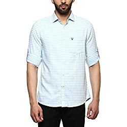 Allen Solly Mens Striped Slim Fit Casual Shirt (AMSF318G00137144_Green with White)