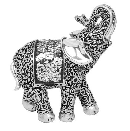Mini Elephant Ornament - Beautifully Detailed Silver and Black Finish - Trunk Up (17665)
