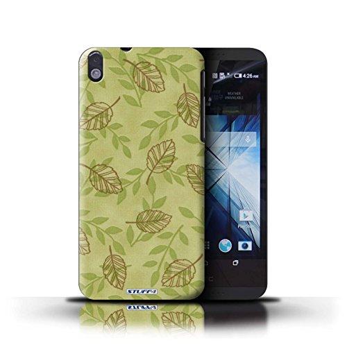Kobalt® Imprimé Etui / Coque pour HTC Desire 816 / Bleu/Marron conception / Série Motif Feuille/Branche Vert/Brown