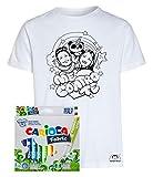 Idea Regalo per Bambini - Maglietta t-Shirt da colorare con Colori Inchiostro per Tessuti - Me Contro Te - Kira e Rai - Luì e Sofì Originale educativa (3-4 Anni, Maglia con Pandacorno + Colori)
