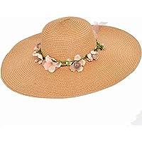 Kakoop - Sombrero de paja para mujer, transpirable, para exteriores, protección UV, para vacaciones, color marrón, tamaño 56cm*58cm