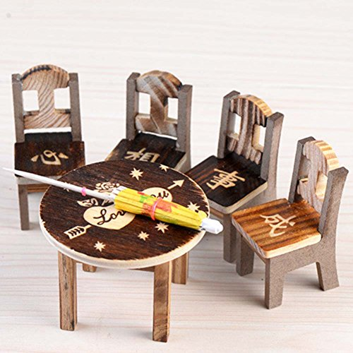 KJH21 1 Set Mini Craft Umbrella Chairs Set, Mini Wooden Furniture Set Table Chairs,DIY Fairy Wooden Desk Chair Umbrella Dollhouse Garden Landscape Decor