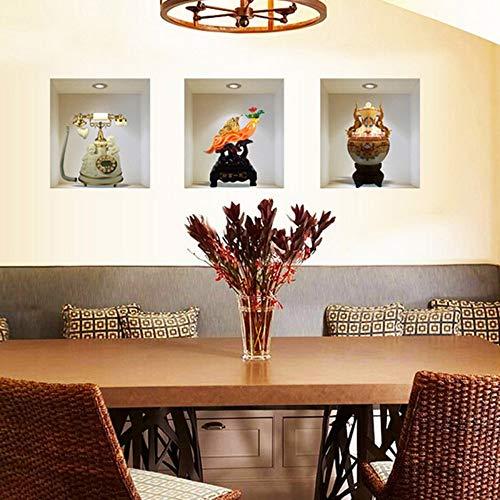 WALSTICKEL Wandtattoos Vase Vinyl Wandaufkleber Steuern Dekor Wohnzimmer Decortaion Wandaufkleber (Dschungel-tier-vasen)