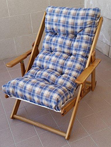 Sedia Sdraio Legno Imbottita.Poltrona Sedia Sdraio Relax 3 Posizioni In Legno Pieghevole Cuscino