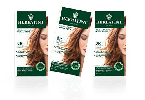 Herbatint gel colorante permanente 8r biondo chiaro ramato - 3 confezioni - 3x 150 ml