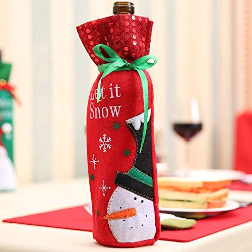 (ISEYMI Weihnachten Weinflasche Abdeckung Schneemann Weinflasche Pullover mit Pailletten für Weihnachten Dekoration Party (grün und Rot))