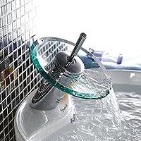 Inchant moderna cascata di vetro beccuccio manico singolo bagno vanità lavandino rubinetto cromo lucido bacino del bagno rubinetti miscelatori, montaggio ponte buco singolo
