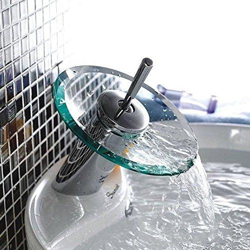 Einhand-Runde Glasauslauf Wasserfall Waschbecken Wasserhahn Chrom-Finish Badewanne Mischer-Hahn-Toilette Vanity Armaturen -