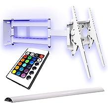 TV Soporte de pared abatible, color blanco, con iluminación, cable canal, TV hasta 55pulgadas
