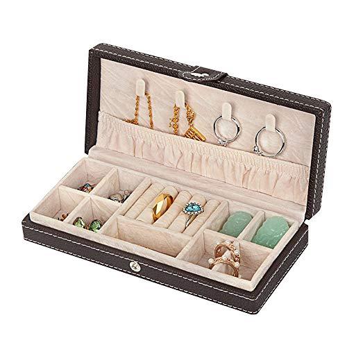 Mini Schmuck Box Organizer Kunstleder FüR Reisen, Schmuck Box, Ringe, ArmbäNder, Ohrringe, Halsketten, Samt Futter (Kaffee Farbe)
