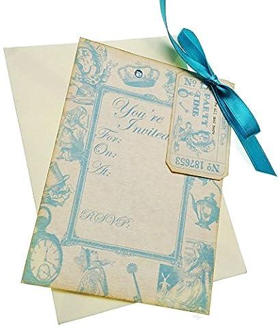 Alice in Wonderland Handmade Vintage Style Blue Invitations x 12 (Tea Party, Birthday, Wedding, Christening, Baby