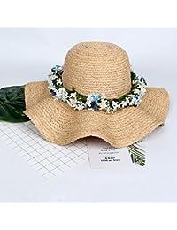 Honey Cappello di Paglia delle Donne Foldable Ghirlanda Onda Grande Brim  Mare Viaggi (Colore   004a6815a0a3