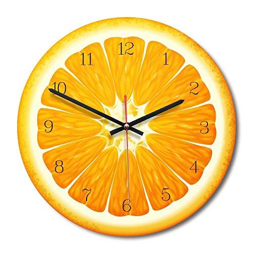 Easy Go Shopping Fruit Orange Motif Horloge Murale muette Acrylique de décoration de Chambre à Coucher de Bureau à Domicile, Taille: 28cm Horloge Murale