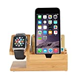 Solid Wooden Watch Holder, Multi-device USB Charging Station, Wooden Charging Base Holder for Apple Watch and iPhone
