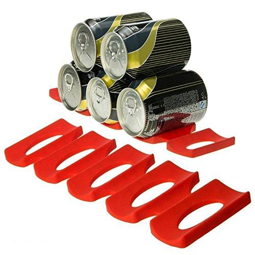 Silikon kann Rack Organizer Kühlschrank Bier Cola Flasche Wein Rack Tragbare Küche-Schrank rot kann Halter Aufbewahrung Stapelbar faltbar Lebensmittel Flasche kann Organizer