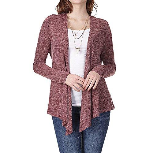 ESAILQ Frau Casual Shirt Langarm Lose Schärpen Unregelmäßige Strickjacke(XL,Weinrot)