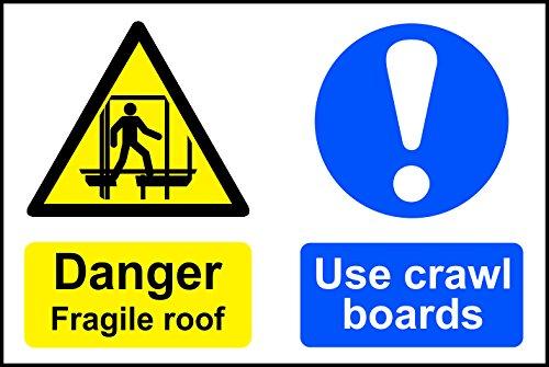 Preisvergleich Produktbild Spectrum Industrie 36.662, 4 cm Danger Fragile Dach Verwenden kriechen Boards Nicht selbstklebend PVC,  Mehrfarbig,  600 x 400 mm