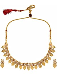 Parinaaz Traditional Gold Plated Ethnic Laxmi Coin Temple Necklace Jewellery Set With Drop Earrings For Girls