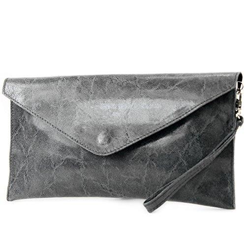 in modamoda pelle in scuro Made da liscia Pochette donna de T106G Grigio Italy xSrSHYwq
