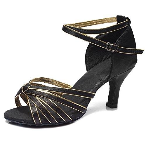 HIPPOSEUS Donne sala da ballo scarpe/scarpe da ballo/scarpe latino raso donne 7CM Nero+Oro