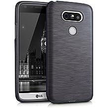 kwmobile ÉTUI EN TPU silicone pour LG G5 / G5 SE Design aluminium brossé anthracite transparent. Étui design très stylé en TPU souple de qualité supérieure