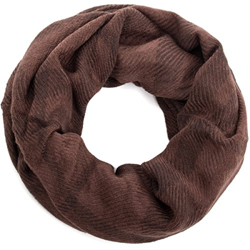 style3Douce écharpe tube de couleur unie avec carreaux discrets Marron - Marron