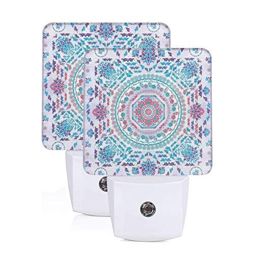 Medallion Design Floral Patterns And Leaves Boho Hippie Style Prints Auto Sensor LED Dusk to Dawn Night Light Set Of 2 White -