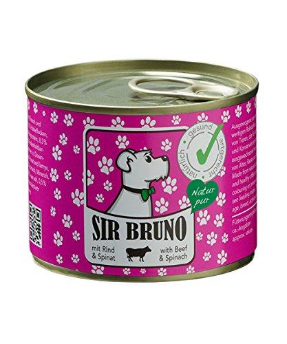 Premium Hundefutter   Nassfutter Sir Bruno Rind & Spinat, 6er Pack (6x 200g). Nur vom Feinsten Ihren Hund gesund ernähren.