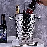Seau à Glace en Acier Inoxydable pour Bar à vin Rouge avec Seau à Glace pour Les...
