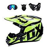 WenYan Moto Motocross Cascos y Guantes y Gafas estándar de los niños de la Bici ATV Quad go Casco,S(52~53cm)