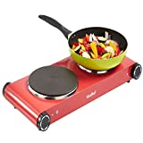 VonShef Double Hot Plate, Premium Electric Red Cooker Hob Table Top - Stainless Steel -... Best Review Guide