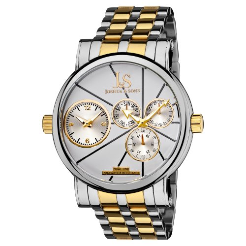 Joshua & Sons Men's Exquisite Dual Time Quartz Watch with Silver Dial, Day and Date Subdials, and Two-Tone Stainless Steel Bracelet JS-35-TTG