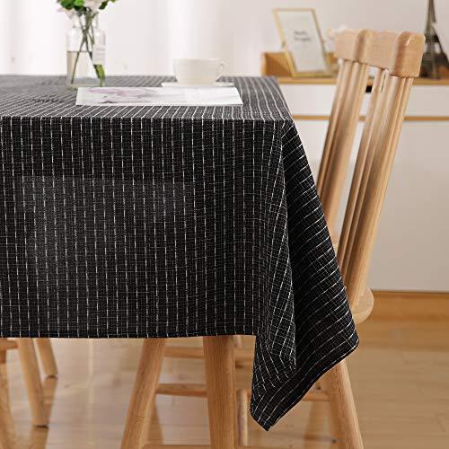 Deconovo Tischdecke Wasserabweisend Streifen Tischwäsche Lotuseffekt Tischtücher 140x240 cm Schwarz