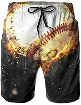 Baseball On Fire Wallpaper Men's/Boys Casual Quick-Drying Bath Suits Elastic Waist Beach Pants with Pockets