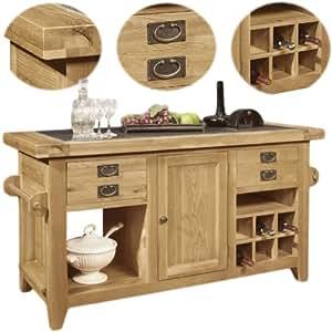 Panama Solid Rustic Oak Furniture Large Kitchen Island Unit Kitchen Home