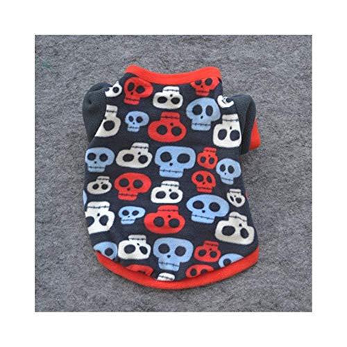 CWYF Haustier-Kostüm Hundekleidung Welpen-Kleidung Super Soft Bequem Plus Velvet Schädel Frühling und Herbst Fleece Hundebekleidung (Color : Multi-colored, Size : S) -
