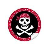 24 STICKER: 24 Geschenkaufkleber PIRAT mit Totenkopf (A4 Bogen) in schwarz/ rot Kindergeburtstag für ein Junge • Papieraufkleber / Sticker / Aufkleber / Etiketten (Format 4 cm, rund, matt )