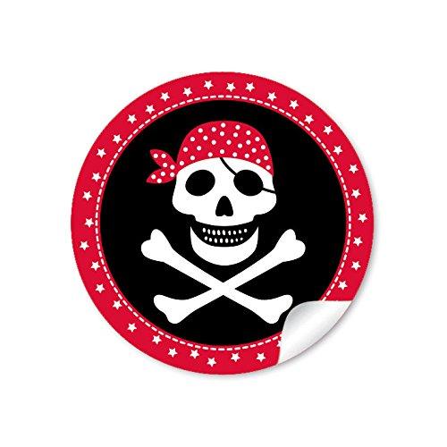 24 STICKER: 24 Geschenkaufkleber PIRAT mit Totenkopf (A4 Bogen) in Rot/Schwarz Kindergeburtstag für ein Junge • Papieraufkleber/Sticker/Aufkleber/Etiketten (Format 4 cm, rund, ()