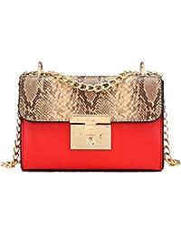 ed3887c9c81a7 Damenmode Damen Tasche Kleine Quadratische Mode Handtasche Niet  Umhängetasche Schlange…