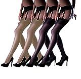 Marilyn erotische Straps-Strümpfe ohne Strapsgürtel, 4er Pack, 15 Denier, Größe 40/42 (M/L), Farbe je 2x schwarz, visone