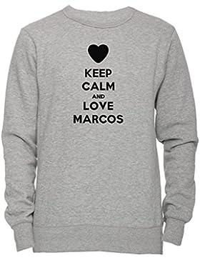 Keep Calm And Love Marcos Unisex Uomo Donna Felpa Maglione Pullover Grigio Tutti Dimensioni Men's Women's Jumper...